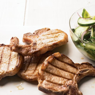 Grilled Pork Chops with Cucumber-Dill Salad.