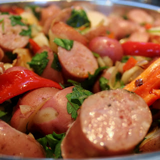 Red Pepper, Potato and Sausage Dinner.