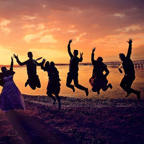 Jump for Jasmin by Alan Evans - Wedding Groups ( sydney wedding photographer, wedding photography, jumping, sunset, wedding day, wedding, aj photography, wedding group,  )