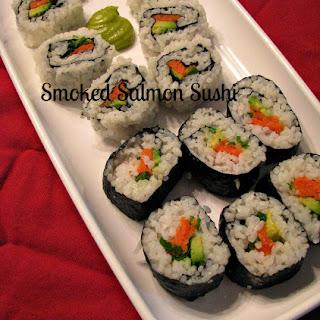 Smoked Salmon Sushi.