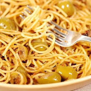 Spaghetti with Green Olive Sauce.