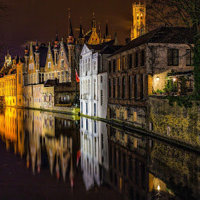 Bruges III by Pascal Hubert - City,  Street & Park  Historic Districts ( city at night, street at night, park at night, nightlife, night life, nighttime in the city )