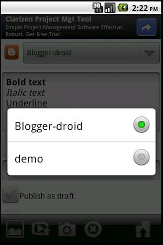Blogger-droid - screenshot