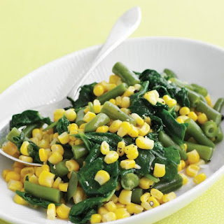 Sauteed Corn, Spinach, and Green Beans