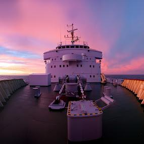 Polar Star At Night by Jay Gould - Transportation Boats ( pink sky, sunset, cheesemans, falklands, ocean, 2010, southern ocean )