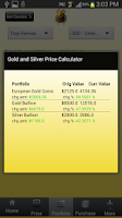 Screenshot of Gold and Silver Prices Live