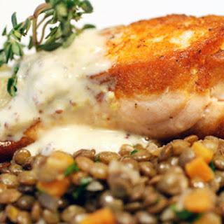 Crispy Salmon with Lentils du Puy and Two-Mustard Crème Fraîche