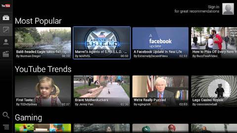 YouTube for Google TV Screenshot 5