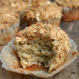 Banana Oatmeal Muffin with Pecan Brown Sugar Topping.
