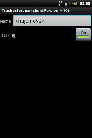 TrackerService – képernyőkép