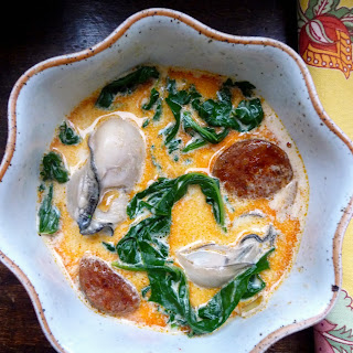 Oyster Stew with Chorizo and Spinach.