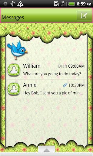 GO SMS THEME SpringBird2