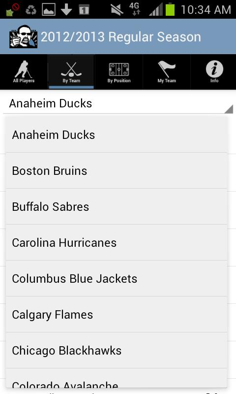Dobber Hockey's Draft List - screenshot