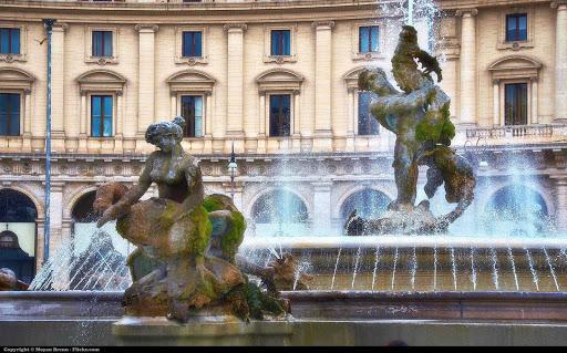 piazza-della-repubblica-rome-italy - The Piazza della Repubblica in Rome.