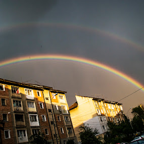 Double rainbow  by Suciu Corina - City,  Street & Park  Neighborhoods ( sky, sunset, rainbow, rain, city,  )
