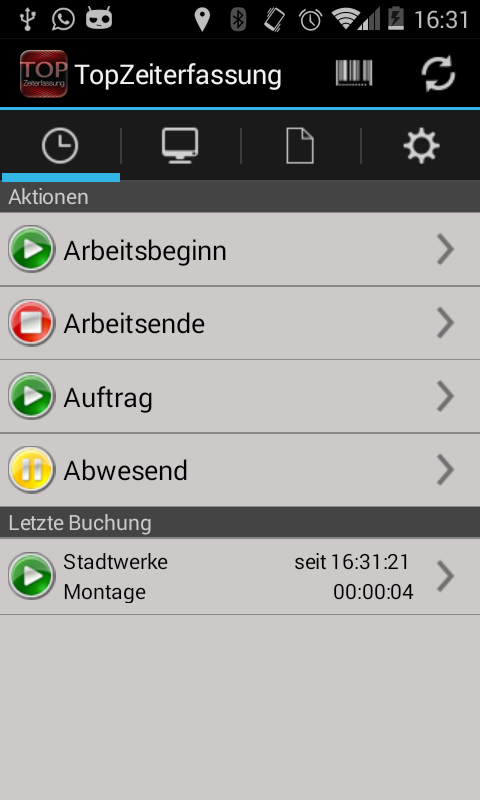 TopZeiterfassung – Screenshot
