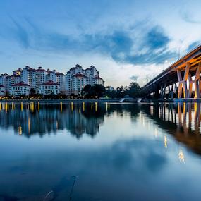 Dawn - cityscape by GokulaGiridaran Mahalingam - Landscapes Sunsets & Sunrises ( dawn, cityscape, sunrise, bridges, singapore,  )