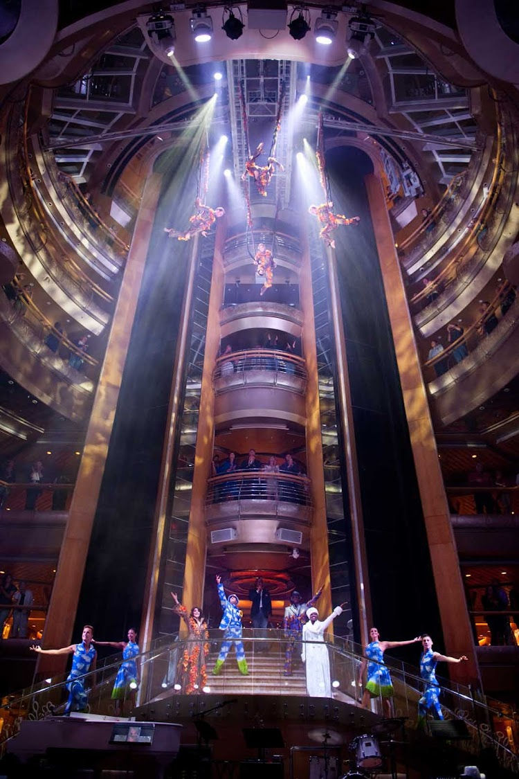 A dazzling aerial show at Grandeur of the Seas' seven-deck-high Centrum.