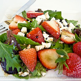 Spring Greens, Strawberry, and Feta Salad