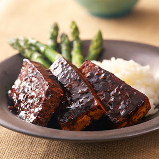 Marinated Tofu with Sticky Rice and Asparagus.