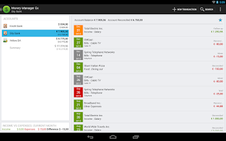 Screenshot of Money Manager Ex for Android