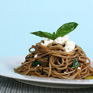 Maccheroni alla Chitarra with Herbes de Provence, cured olives and fresh goat cheese
