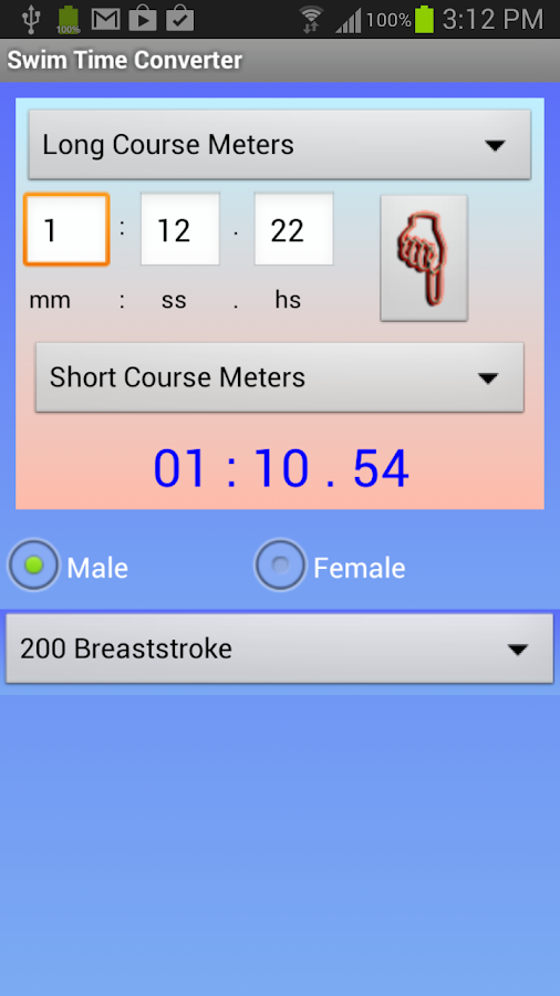 Swim Time Converter- screenshot
