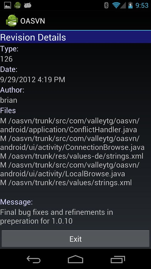 Open Android SVN PRO (OASVN)- screenshot