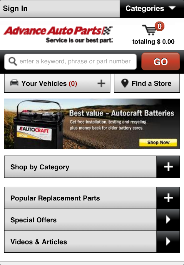 Advance Auto Parts - screenshot