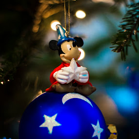 Merry Christmas from Mickey by Titus Criste - Public Holidays Christmas ( mickey, d5200, christmas, disney, nikon, decoration, object, , mood, mood factory, holiday, hanukkah, red, green, lights, artifical, lighting, colors, Kwanzaa, blue, black, celebrate, tis the season, festive )