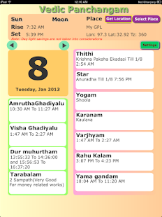 Panchangam for any place time