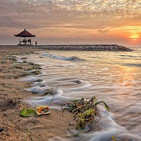 Morning Prayer by Christopher Harriot - Landscapes Sunsets & Sunrises ( prayer, sand, bali, sun sea, sunrise, beach, morning )