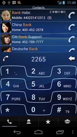 RocketDial Razr Blue Theme Screenshot