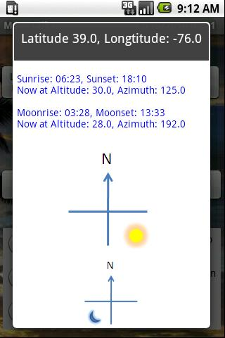 Moon and Sun phase, rise/set..- screenshot