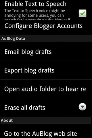 AuBlog Blogger Client- screenshot