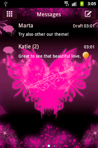 GO SMS Pro Pink Heart Buy