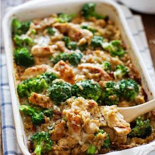 Creamy Chicken, Quinoa, and Broccoli Casserole.