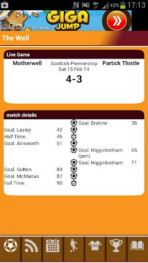 Motherwell Match Alert