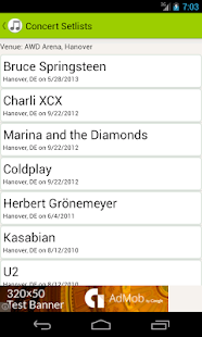 Concert Setlists- screenshot thumbnail