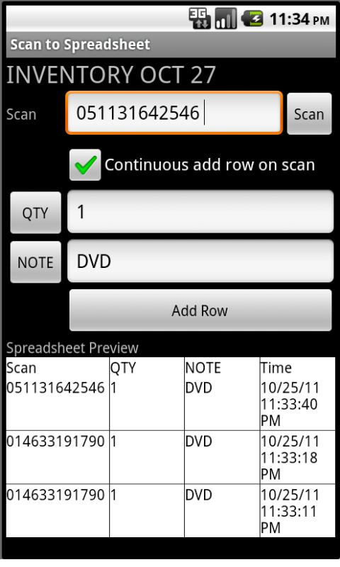 Scan to Spreadsheet - screenshot