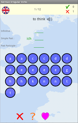 German Irregular Verbs Hangman - screenshot