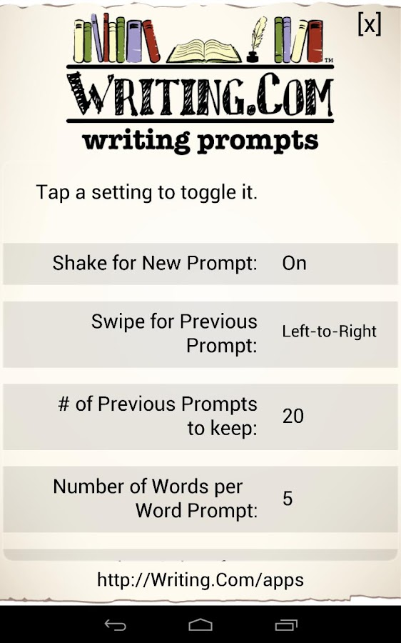 Writing Prompts - screenshot