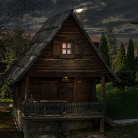 House and a boat by Milos Vasic - Buildings & Architecture Homes ( wooden, night, lake, house, boat, light, the mood factory, mood, lighting, sassy, pink, colored, colorful, scenic, artificial, lights, scents, senses, hot pink, confident, fun, mood factory , , relax, tranquil, relaxing, tranquility )