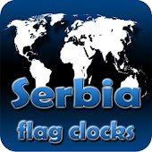 Serbia flag clocks