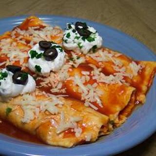 Easy Mashed Potato and Roasted Vegetable Enchiladas.