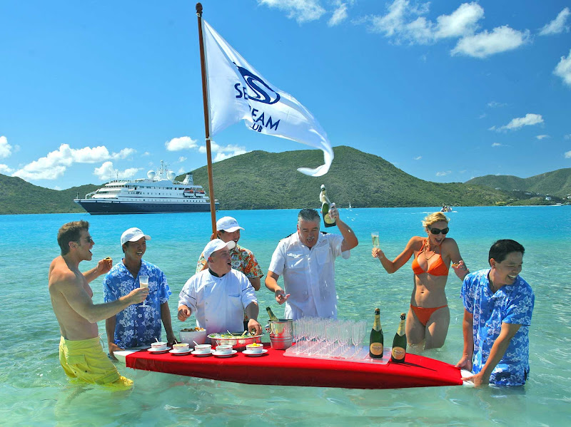 Take part in the Champagne Caviar Splash during a shore excursion on your SeaDream cruise.