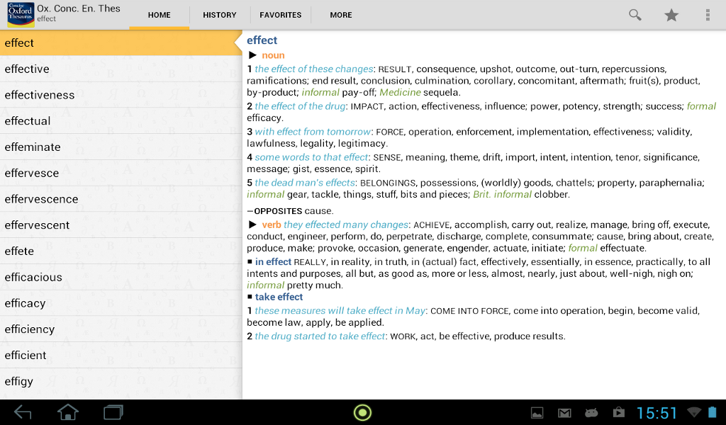 Concise Oxford Thesaurus - screenshot