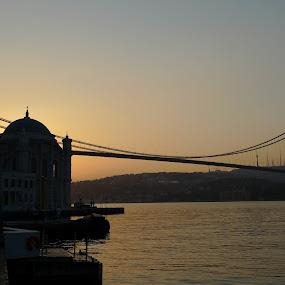 Sunrise in Istanbul by Gabriela Ivanova - Buildings & Architecture Bridges & Suspended Structures ( ortakoy, mosque, bosphorus, sunrise, istanbul )