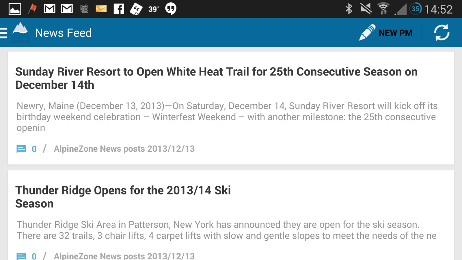AlpineZone Northeast Ski Forum- screenshot