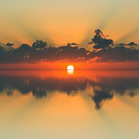 Sunset by Ashraf Ahmed Habib - Landscapes Sunsets & Sunrises ( clouds, reflection, sunset, sunshine, landscape, sunlight )